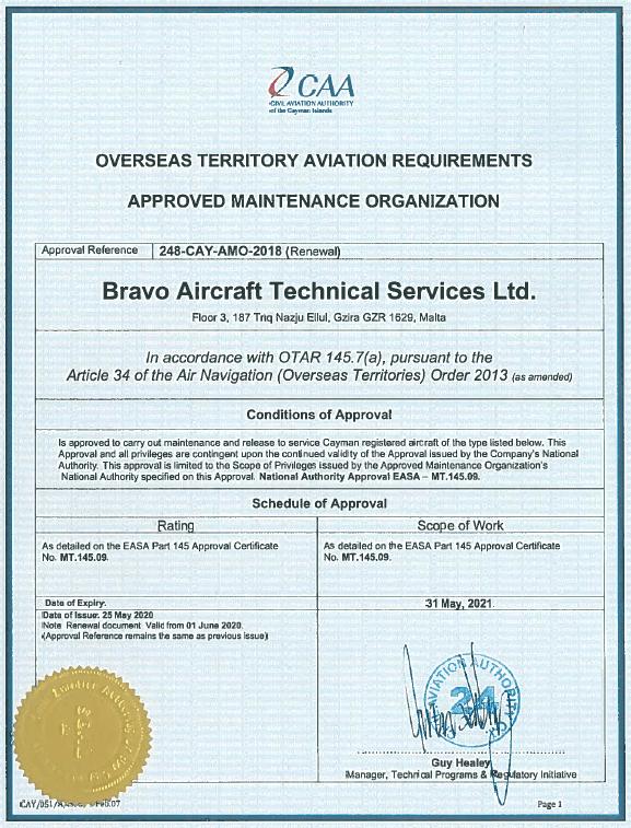 Cayman Island re-certification